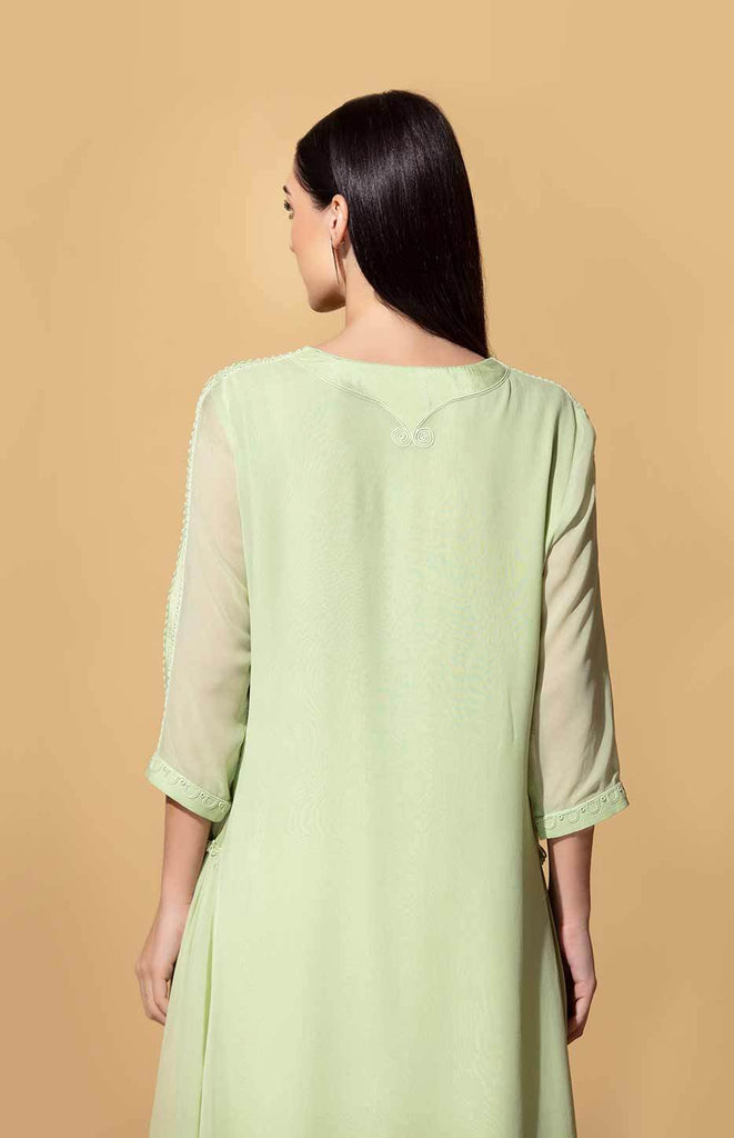 Wageza Mint and Ivory Tunic Set in Georgette