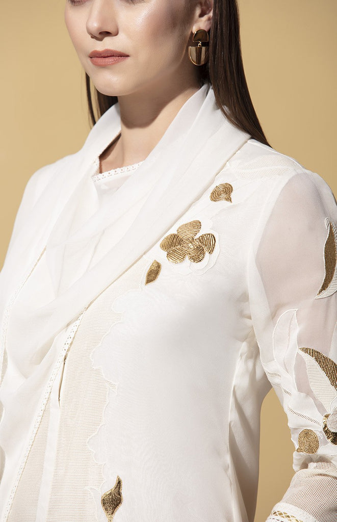 Ihlobo Ivory Tunic Set in Georgette with Dupatta