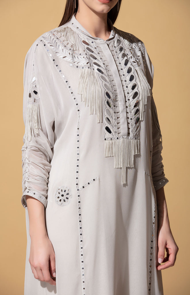 Gemma Light Grey Tunic in Georgette with Dhoti Pants