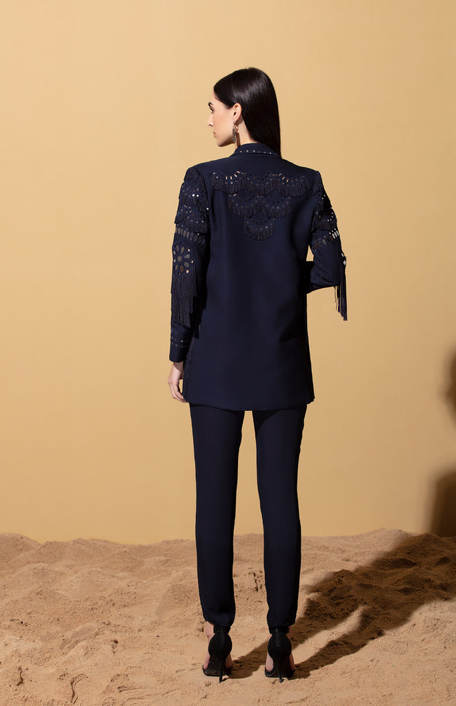 Safara Navy Jacket Set in Georgette