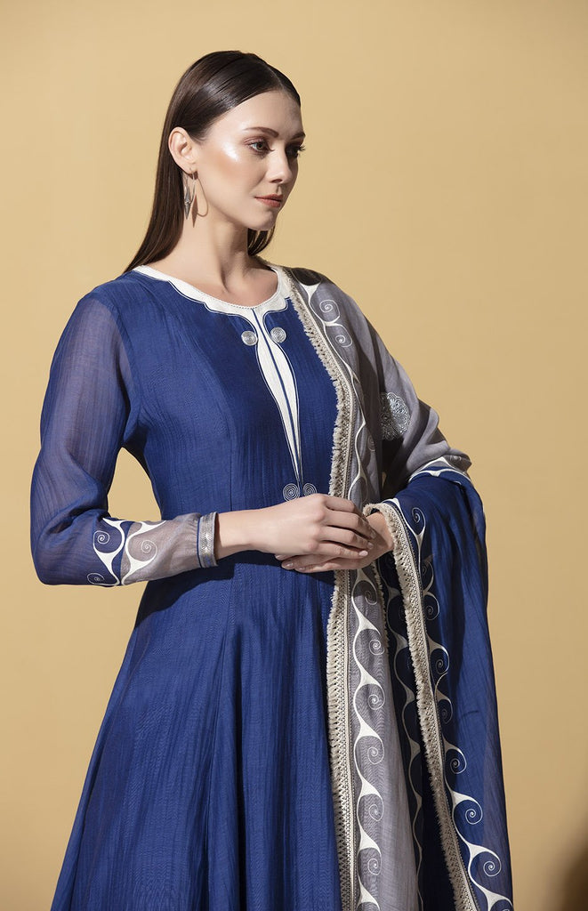 Ayanda Indigo Anarkali Set in Chanderi