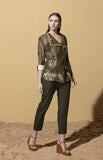 Kusafiri Olive Throwover in Chanderi with Bodysuit