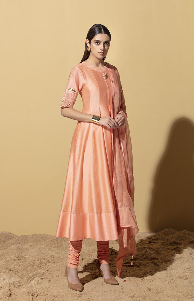 Cebile Peach Anarkali Set in Chanderi