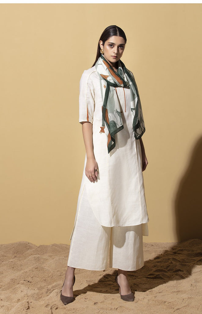 Elula Ivory Tunic Set in Linen with Scarf
