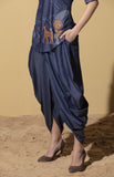 Navy Dhoti Pants in Denim with Belt