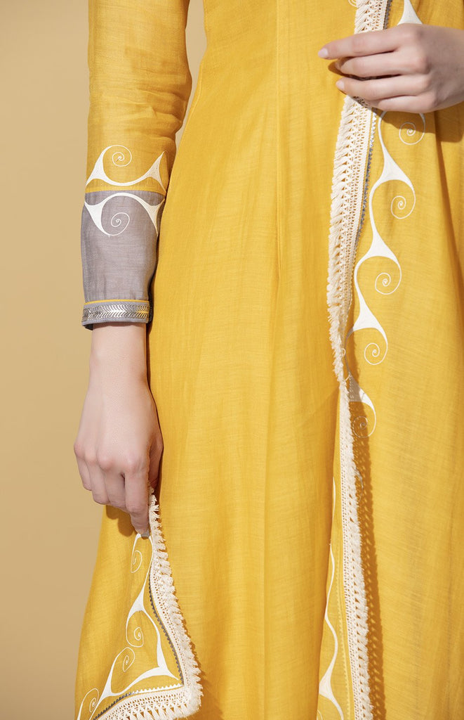 Ayanda Mustard Anarkali Set in Chanderi