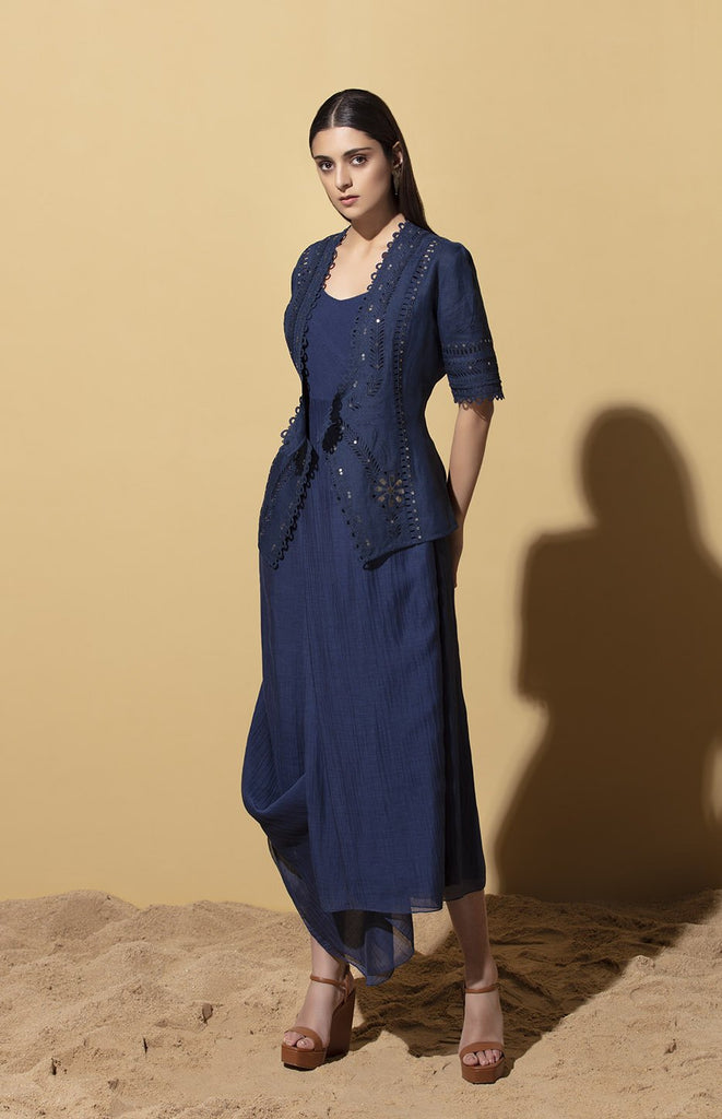 Izibele Navy Jacket Set in Linen