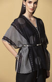 Raziya Black Cape in Chanderi with Belt