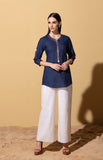 Elaine Navy Blue Shirt in Linen