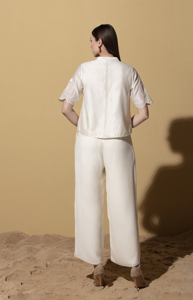 Ivory Palazzo Pants in Georgette