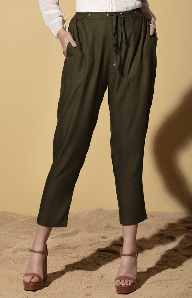 Olive Joggers in Viscose Twill