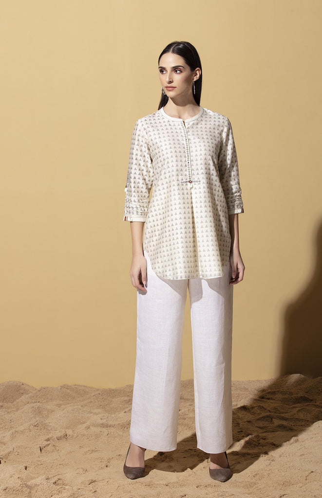 Nyarai Ivory Shirt in Chanderi
