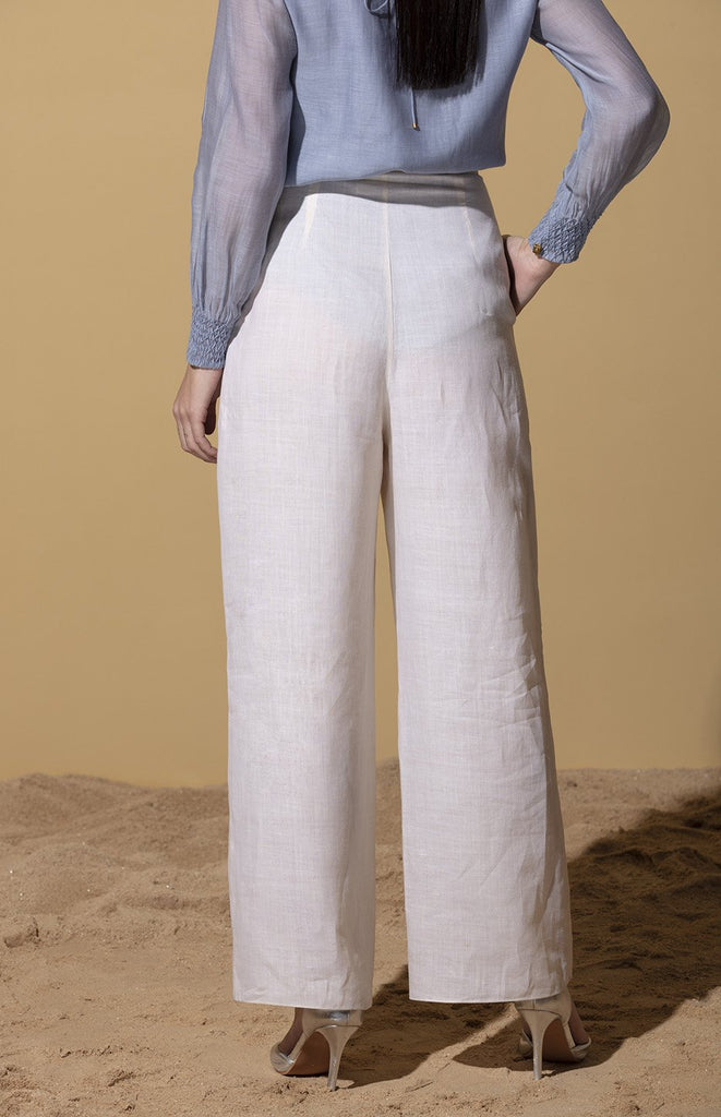 Ivory Palazzo Pants in Linen