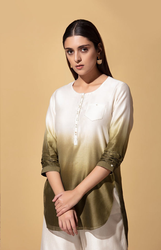 Kabili Olive and Ivory Top in Chanderi