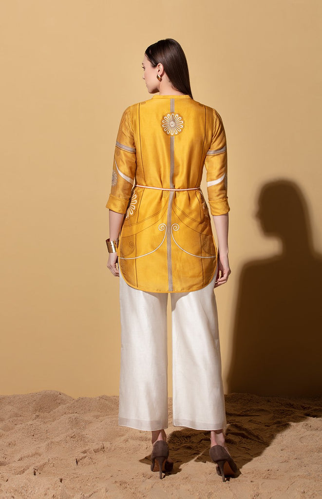Spieel Mustard Shirt in Chanderi