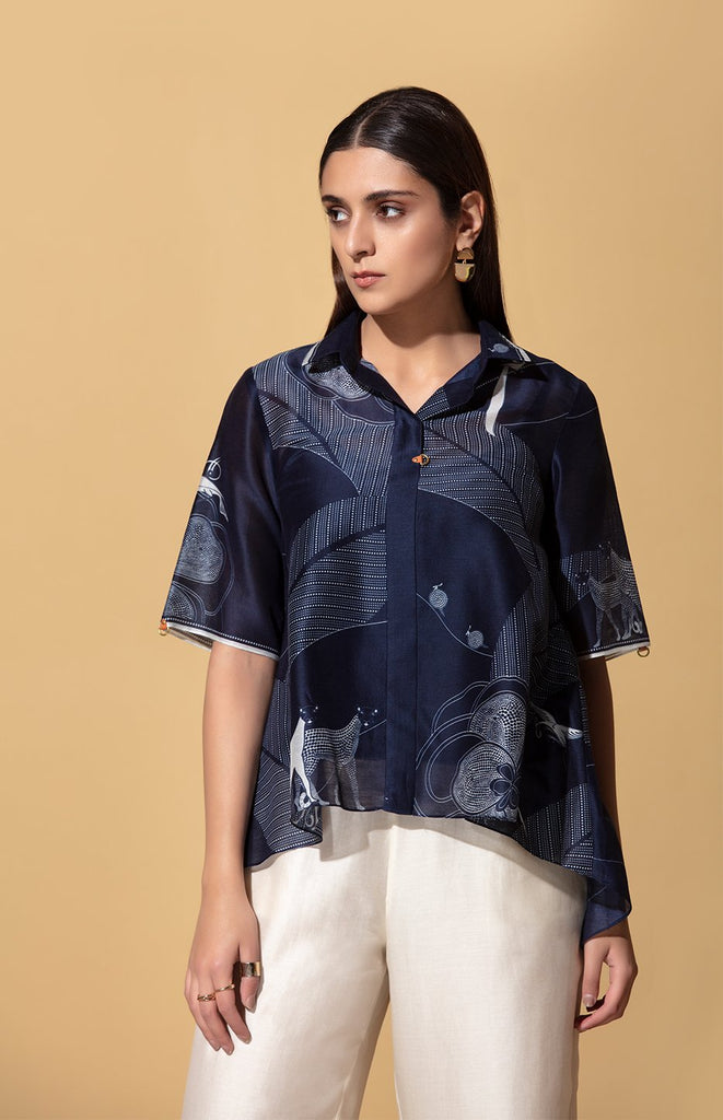 Msitu Navy Shirt in Chanderi