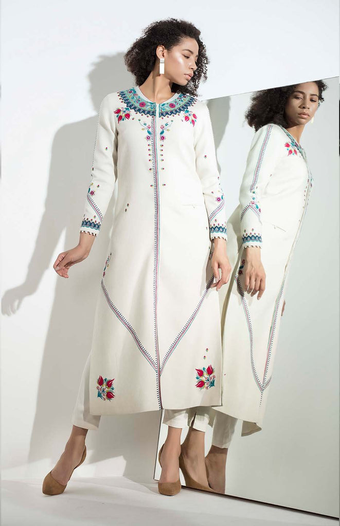 Ivory Jacket in Wool with Applique Work