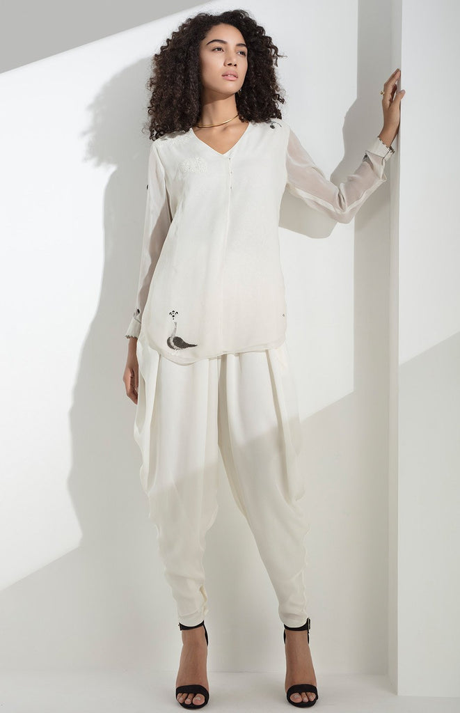 Ivory Shirt in Viscose Georgette