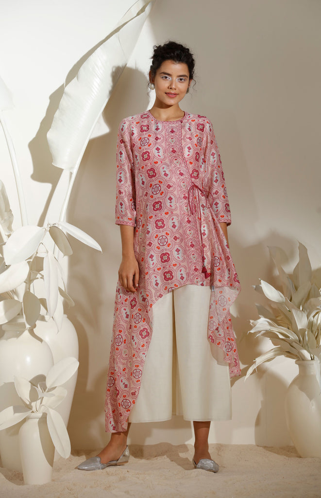 Light Pink Shirt With Inner in Chanderi