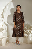Brown Tunic Set in Chanderi