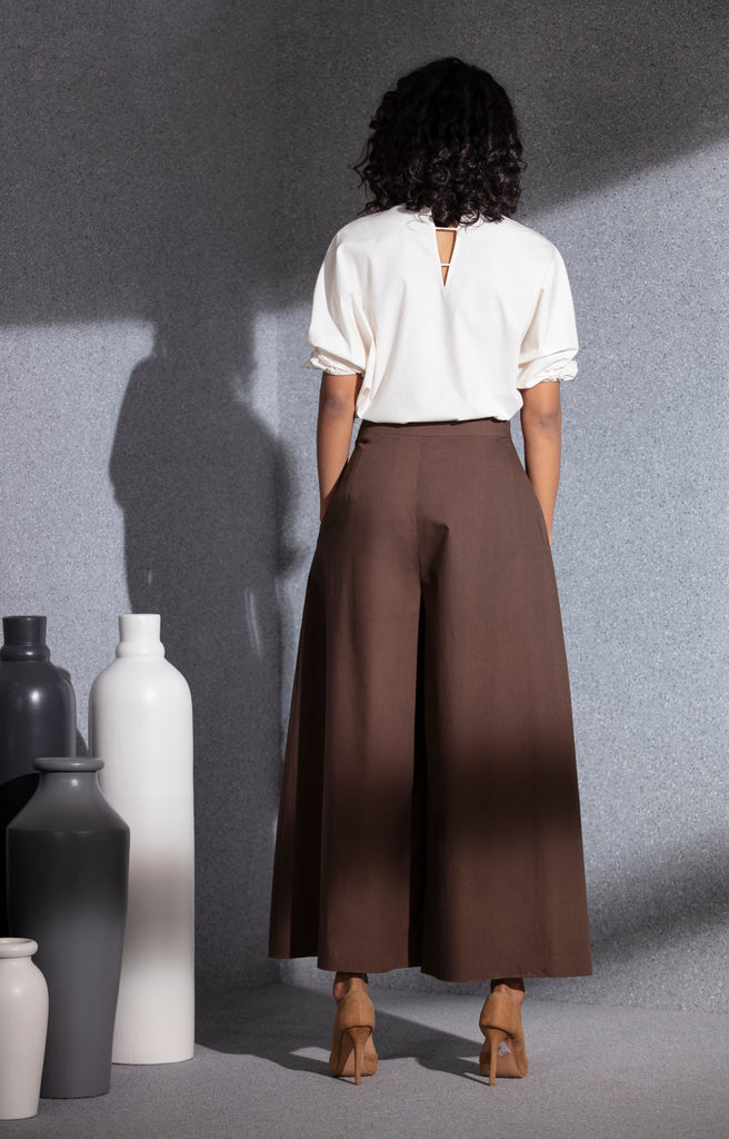 Brown Pant in Poplin