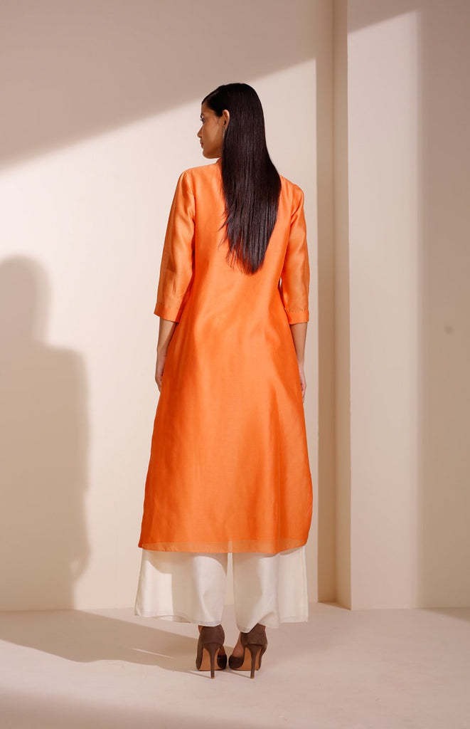 Orange Tunic In Chanderi With Corded Sleeves