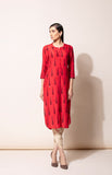 Red hand embroidery kurta with Toosh dhoti pants