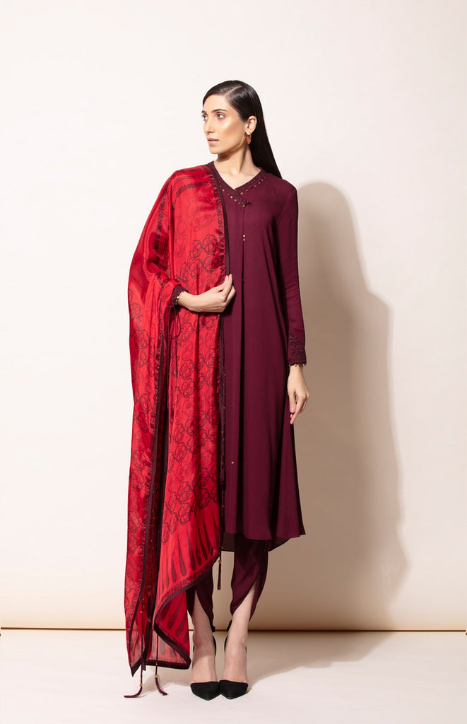 Burgundy suit with dhoti and Red digital print Dupatta