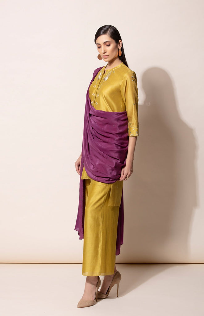 Dirty Mustard Kurta, Palazzo and Deep Purple predraped Dupatta set