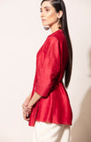 Red wrap shirt in Chanderi