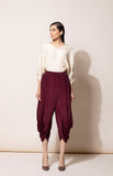 Burgundy Dhoti Pants in Crepe