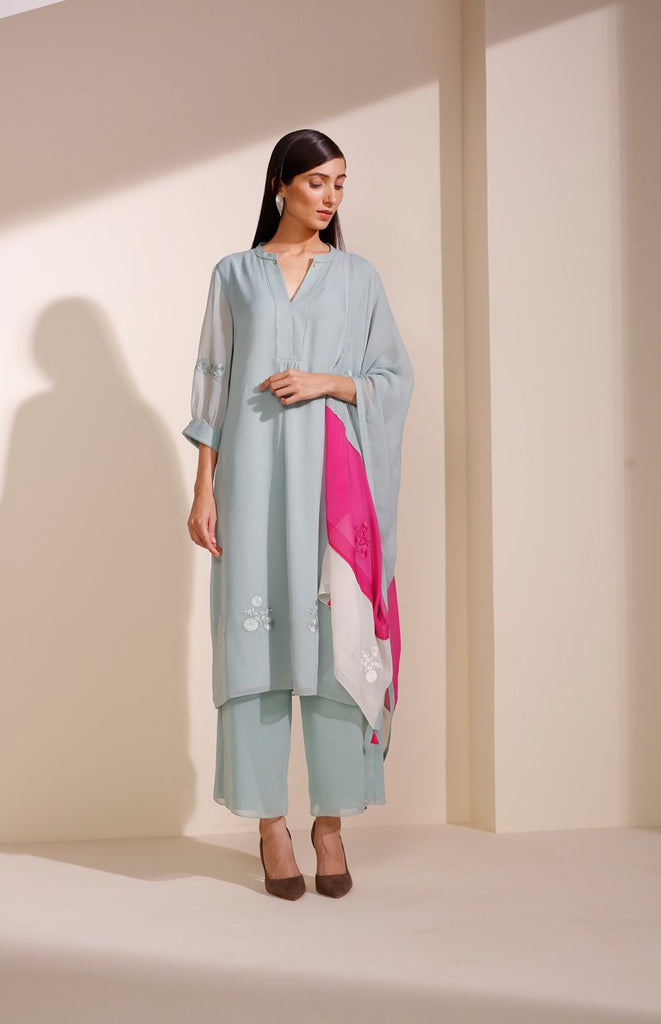 Sea Blue Suit In Georgette With Floral Embroidery