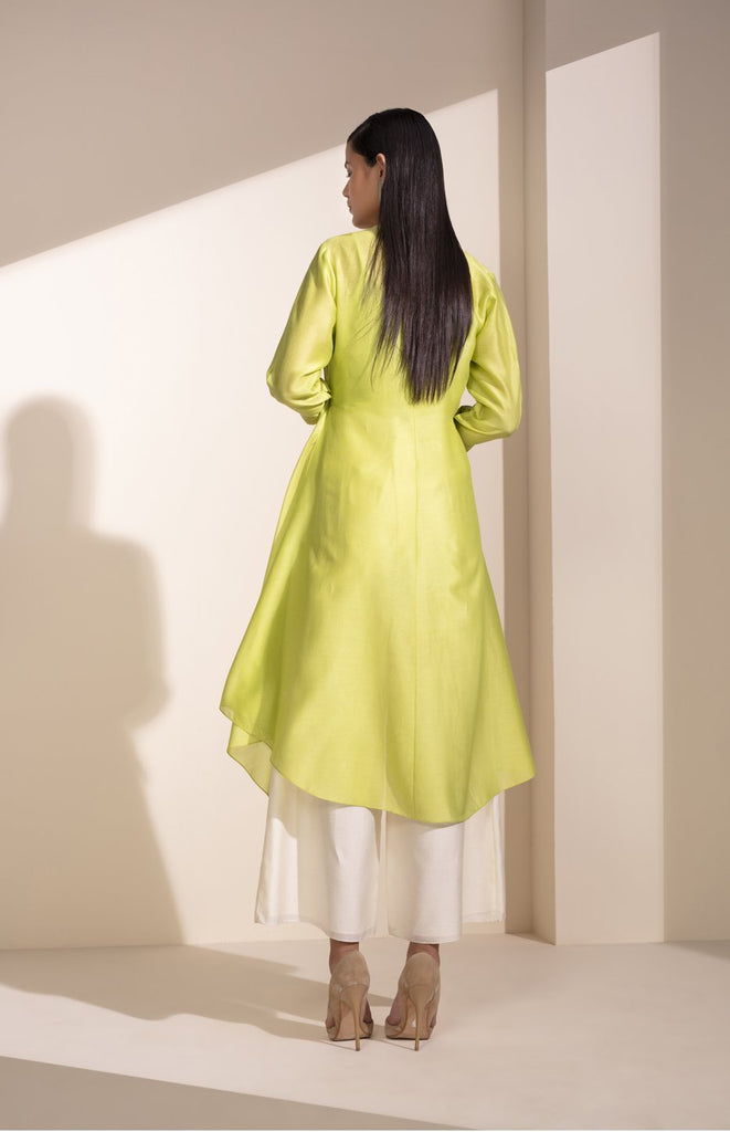 Neon Lime Shirt In Chanderi
