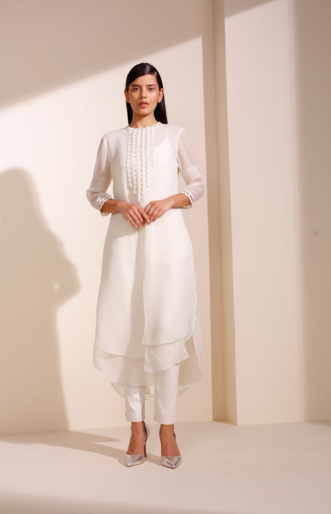 Ivory Tunic In Georgette With Cutwork