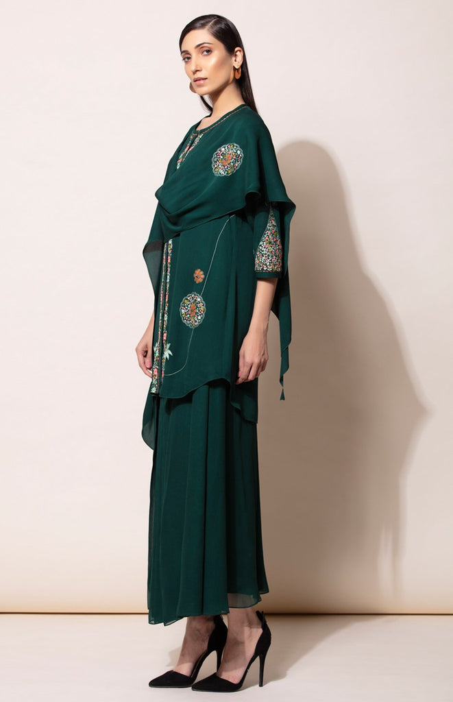 Bottle Green Kurta with Pleated Pant