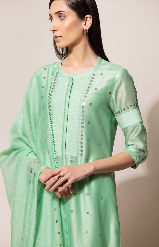 Subtle Neon Green Embroidered Suit