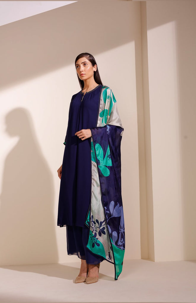 Indigo Suits in Georgette With Cut Details