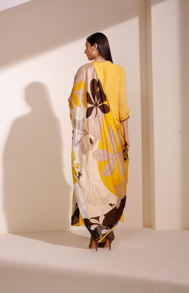 Mustard Suit In Georgette With Cut Details