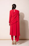 Red Anarkali set with Dhoti pants and Pre draped Dupatta