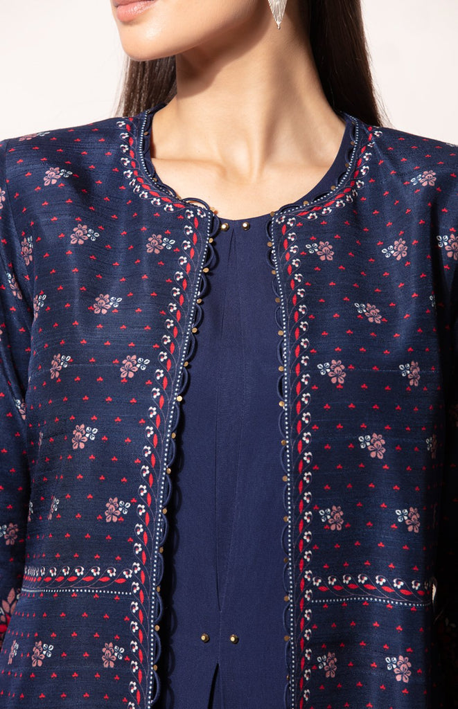 Farozaan Jacket Set in Navy
