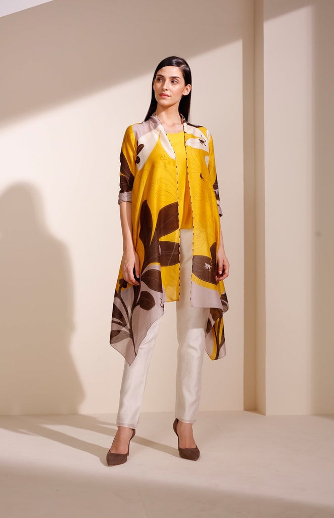 Mustard Printed Jacket with Inner