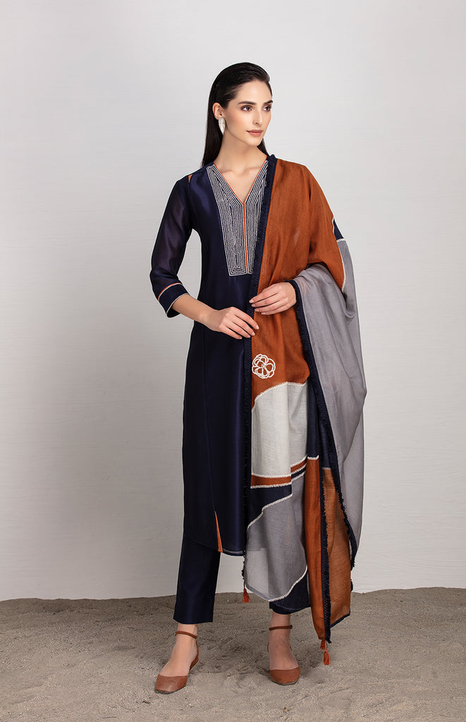 Makena Indigo Suit Set in Chanderi