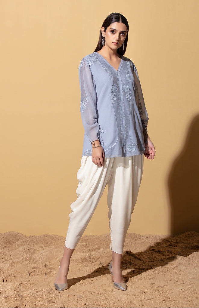 Iqhwa Stone Blue Blouse in Georgette