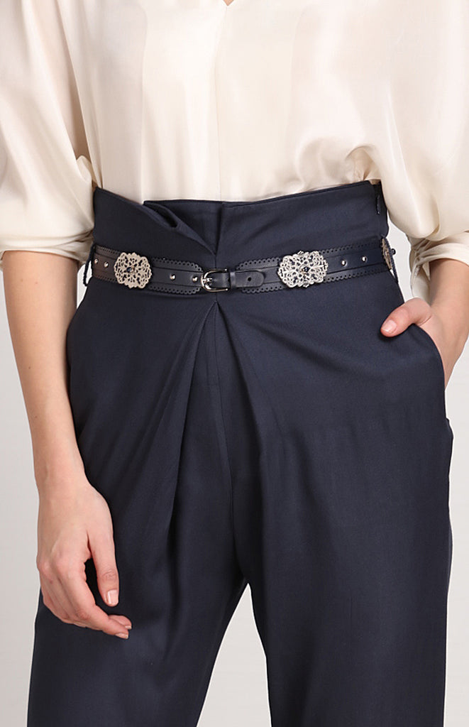 Navy Slim Faux Leather Belt