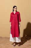 Irozi Red and Ivory Tunic Set in Linen