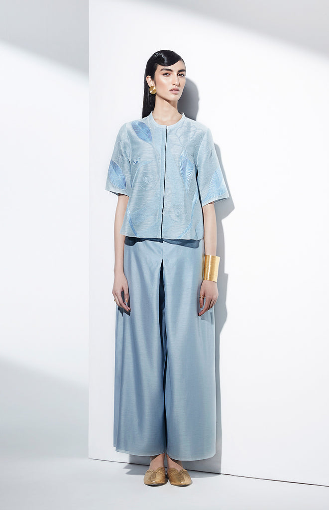 Eka Ice Blue Cropped Top Set in Linen
