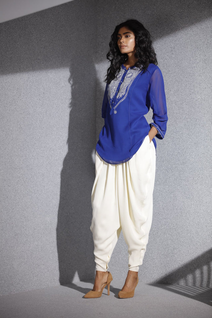 Electric Blue Shirt in Georgette