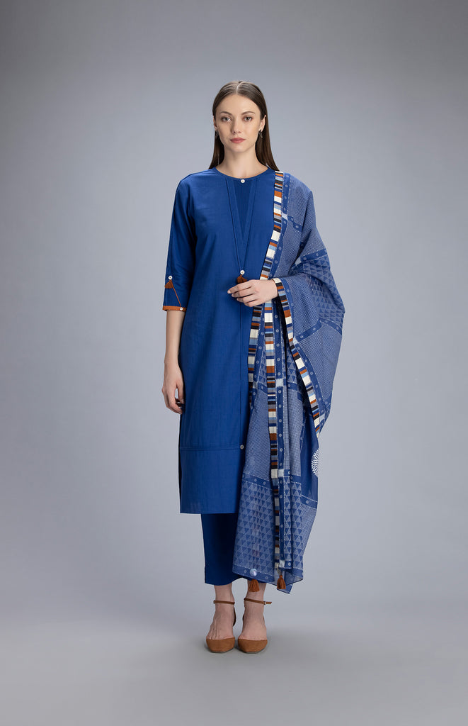 Samira Indigo Suit Set in Cotton