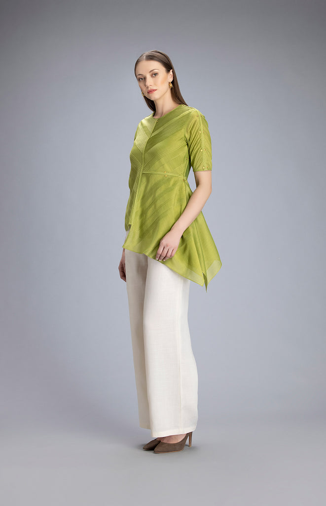 Tabia Green Top in Chanderi