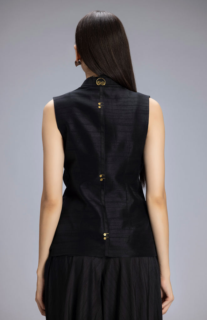Aatirah Black Jacket in Silk